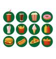set fast food icon cup cola hamburger pizza vector image