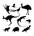 set of black silhouettes of australian animals vector image