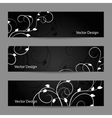 Set of horizontal banners with plant pattern vector image