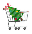 supermarket cart with christmas tree vector image