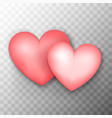two pink hearts transparent background vector image