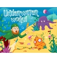Underwater world with different sea animals vector image