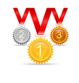 Three medals for awards vector image vector image