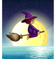 Flying witch and fullmoon vector image vector image