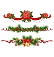 Christmas festive decoration with spruce tree vector image