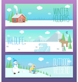 Cute winter banners Outdoor weekend holidays vector image