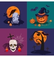 Halloween Pumpkin Skull and Grave vector image