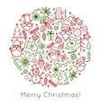 Hand drawn Christmas greeting card with Santa vector image
