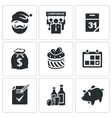 New year corporate icons set vector image