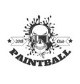 paintball club 2018 monochrome logotype with skull vector image
