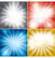 set of color grunge background with rays vector image