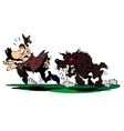 Dog chases a frightened man vector image vector image