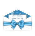 Envelope with Greeting Card and Blue Bow Ribbon vector image