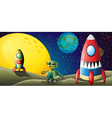 Two aircrafts and a robot in the outerspace vector image vector image
