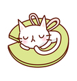 A sleeping cat on lotus leaf vector image