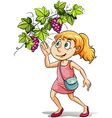 A girl and a grapevine vector image