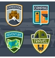 Set of tourist camping badge and label vector image