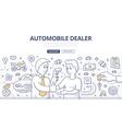 Auto Dealer Doodle Concept vector image