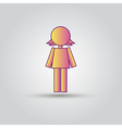 Icon pink stick figure female women or girl vector image
