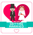 We Are Getting Married Flat Design Card on White vector image