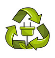 power cable with leaves inside of recycling symbol vector image