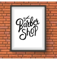 Barber Shop Sign Hanging on Red Brick Wall vector image