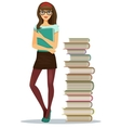 Beautiful young girl student with stacked books vector image