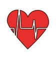 heart icon with sign heartbeat romantic love vector image