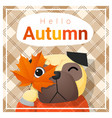 hello autumn background with happy dog vector image
