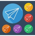 Paper plane flat icons set with long shadow vector image