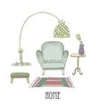 Shelf and lamp - Set of design elements vector image