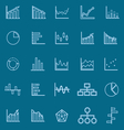Graph line color icons on blue background vector image