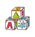 Toy cubes isolated on white vector image