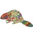 beaver in the ethnic pattern of Indians vector image