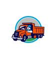 Dump Truck Driver Thumbs Up Circle Cartoon vector image