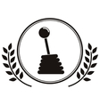 Gearshift prize in monochrome with olive branch vector image