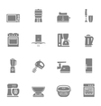 Kitchen appliances silhouette icon set vector image