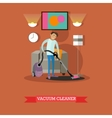 Man vacuuming floor in his room Cleaning service vector image