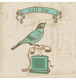 Vintage Telephone with a Bird vector image vector image