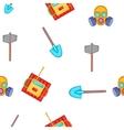 Mining elements pattern cartoon style vector image