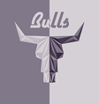 Skull of bull abstract logo grey triangles with vector image