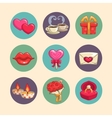 Romantic icons set vector image