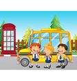 Students standing by the school bus vector image