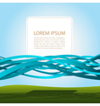 banner in blue ribbons vector image