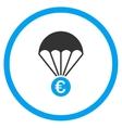 Euro Parachute Circled Icon vector image
