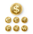 gold coins set realistic money sign vector image