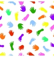 Seamless pattern hand and foot colorful prints vector image