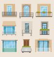 set of colorful beautiful balconies vintage vector image