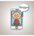 boy cellphone blogger web vector image