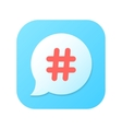 red hashtag icon on blue gradient speech bubble vector image